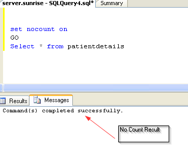 SQL SERVER – SET Nocount ON